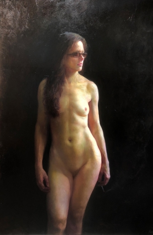Steven Assael, Patricia (Standing Nude), 2018, oil on panel, 72 x 48 inches