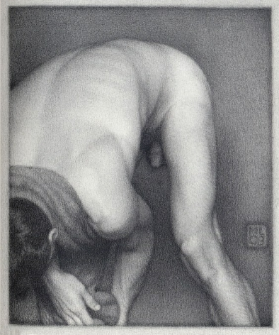 Michael Leonard, Bather Stooping Low (SOLD), 2003, graphite pencil on paper, 8 x 6 5/8 inches