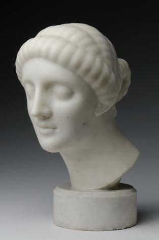 Elie Nadelman, Female Head, 1908-09, white marble, 14 1/4 x 9 1/2 x 12 1/4 inches, Round Base: 3 1/4 inches high