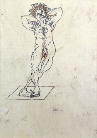 Gregory Gillespie, Male Dancer, 1980, pen & ink, oil on paper on board, 16 x 12 inches