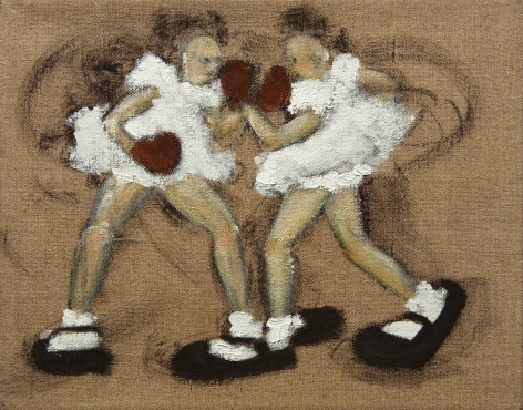 Kim Dingle, Girls on Linen Study #8 (SOLD), 1992, oil on linen, 8 x 10 inches