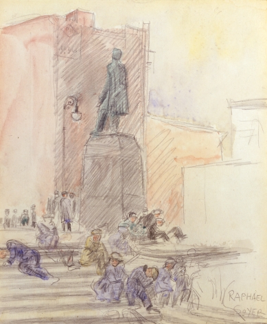 Raphael Soyer, On the Steps, c. 1930, watercolor on paper, 9 x 7 1/4 inches
