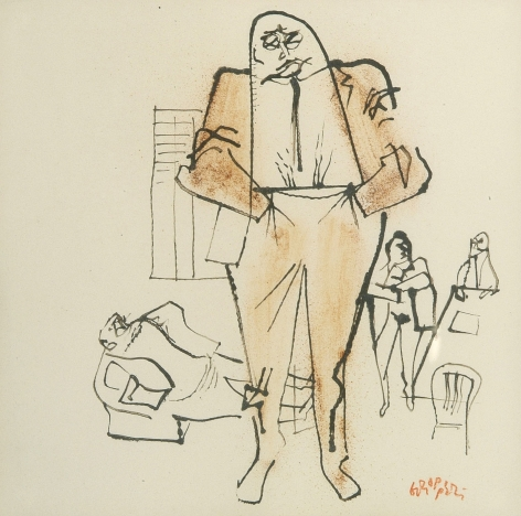 William Gropper, Executives (SOLD), ink and watercolor on paper, 11 x 11 inches