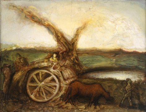Gregory Gillespie, Landscape with Cart, 1992, oil on panel, 16 1/4 x 21 inches