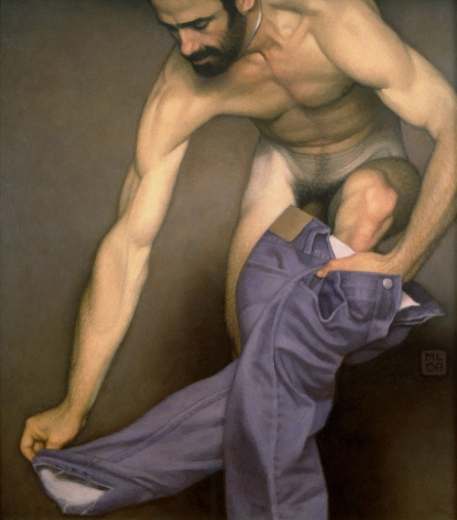 Michael Leonard, Climbing Out, 2008, alkyd-oil on masonite, 24 x 22 inches