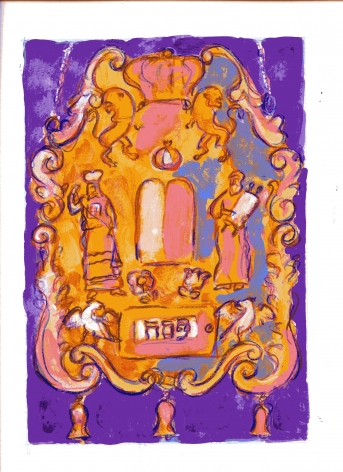 mark podwal, Pesach Torah Breastplate, 2011, acrylic, gouache and colored pencil on paper, 16 x 12 inches