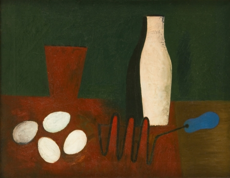 Willem de Kooning, Untitled (Still Life with Eggs and Potato Masher), 1928-29, oil and sand on canvas, 18 x 24 inches (26 1/2 x 32 3/4 inches framed)