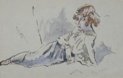 jules pascin,Hermine Allongee, 1915, watercolor on paper, 8 x 12 1/2 inches