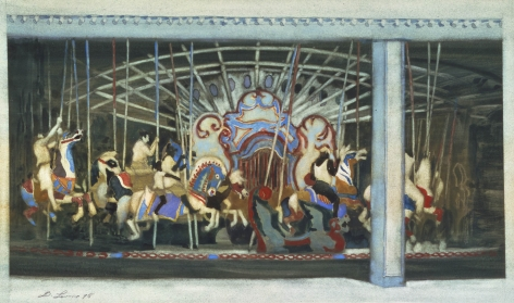 david levine, Carousel, 1995 watercolor on paper 11 3/8 x 14 1/4 inches, Private collection, New York, NY