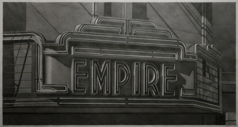 robert cottingham, Empire (SOLD), 2011, graphite on vellum, 24 7/8 x 49 7/8 inches