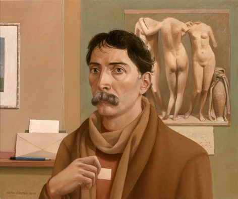 Alan Feltus, Self-portrait with Graces, 2000, oil on canvas, 19 1/2 x 23 1/2 inches