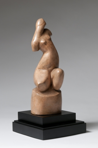 Alexander Archipenko, Kauernde (Crouching), 1912, colored plaster, 15 3/8 h x 5 7/8 w x 5 d inches, Private Collection, Courtesy of Fodera Fine Art Conservation, Ltd.