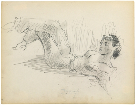 Charles White, Reclining Woman in Trousers, c. 1935 - 1938 pen and ink over pencil on paper 9 7/8 x 7 3/4 inches