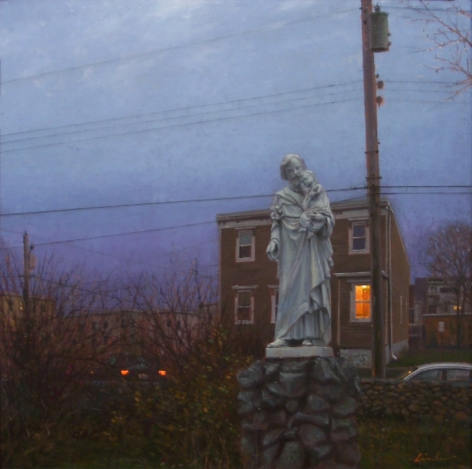 Linden Frederick, Saints (SOLD), 2007, oil on canvas board, 12 1/4 x 12 1/8 inches