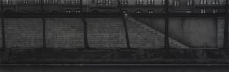 anthony mitri, Entre Chien et Loup (Twilight), Paris, 2008, charcoal on paper, 12 x 38 inches