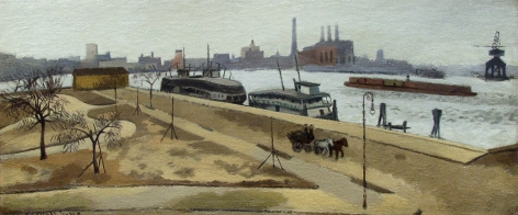 Raphael Soyer, Jackson Park, c. 1930, oil on canvas, 11 x 26 1/2 inches