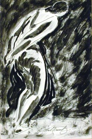 Abraham Walkowitz Dancer Preparing (Isadora Duncan), nd, ink & wash on paper, 14 x 9 inches