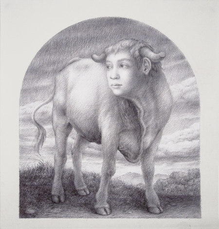wade schuman, Study for Virtues: Fortitude, 2011, Ball Point pen on paper, 15 1/4 x 13 1/4 inches