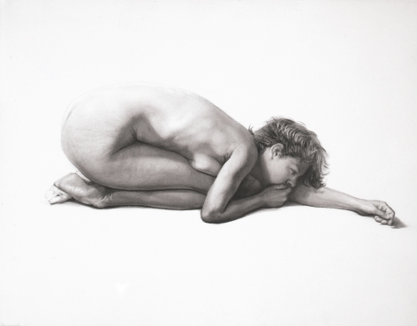 Steven Assael Carla Crouching with Arm Extended, 2004, graphite on paper, 11 x 14 inches