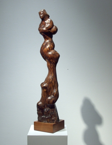 Chaim Gross, Baby Balancing on Feet, 1950, cocobolo wood, 29 1/2 H x 5 1/2 W x 5 1/2 D inches