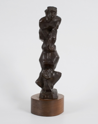 Chaim Gross, Cycle Acrobats, n.d., cast bronze, 10 x 3 x 3 1/2 inches with wooden base