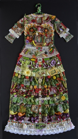 jane lund, Garden Dress (SOLD), 2012, assemblage of collected objects, 59 x 33 inches