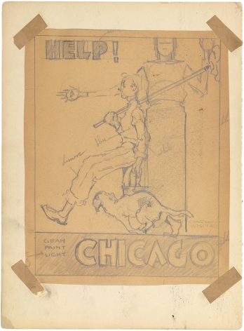 Charles White, Help! Chicago, c. 1935 - 1938, pencil on paper, 9 1/4 x 7 1/2 inches