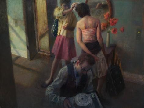 paul fenniak, Hotel Corridor, 2018, oil on canvas, 54 x 72 inches
