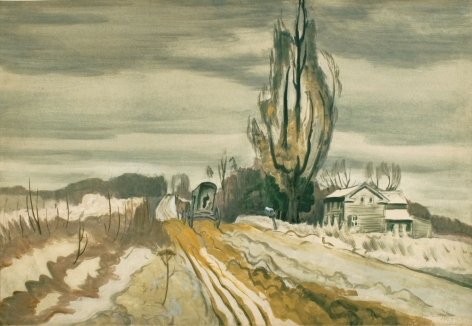 Charles Burchfield, Horse and Carriage Passing Farmhouse, 1920, watercolor on paper, 20 x 29 3/4 inches