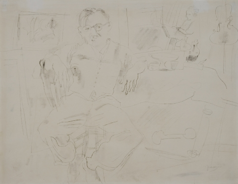 jules pascin, Portrait of Emil Ganzo, carbon transfer drawing on paper, 15 1/2 x 20 inches