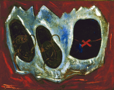 marsden Hartley, Ski Signs, 1939, oil on board, 22 x 28 inches