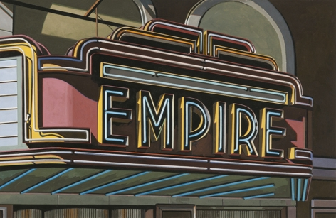 robert cottingham, Empire (SOLD), 2008, gouache on paper, 17 x 26 3/4 inches