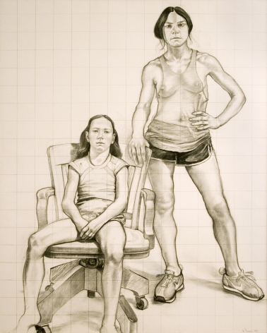 William Beckman, Study for Diana and Deidra, 1979, charcoal on paper, 61 x 49 inches
