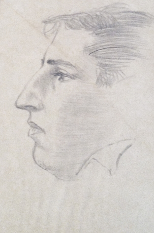 David Levine, Self-Portrait, nd, pencil on paper, 6 1/2 x 4 3/8 inches