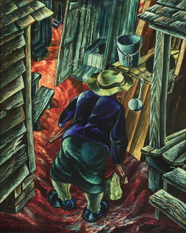John Biggers, Coming Home from Work (SOLD), 1944, oil on board, 40 x 32 inches