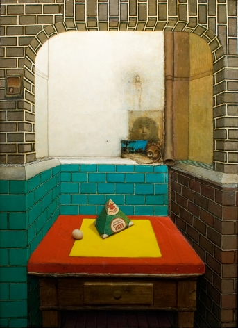 gregory gillespie, Roman Interior Kitchen (Still Life with Milk Carton), 1967-69 oil on panel 63 x 45 1/2 inches