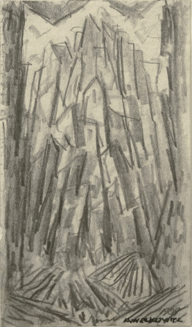 Abraham Walkowitz City Abstraction II, c.1908, pencil on paper, 5 x 2 7/8 inches