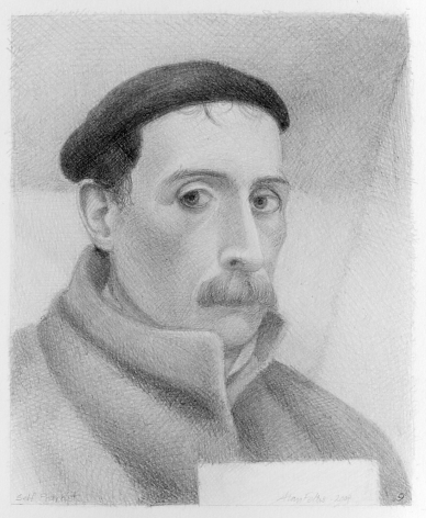 Alan Feltus, Self-Portrait, Beret and Coat, 2004, pencil on Strathmore paper, 10 1/4 x 8 1/4 inches