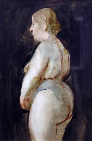 David Levine, Fat Nude, 1969, watercolor on paper, 10 1/2 x 7 inches