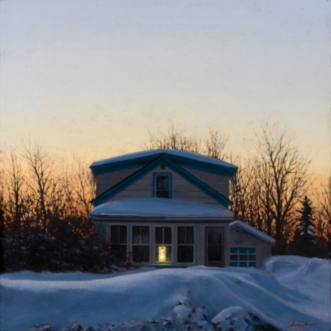Linden Frederick, The Weight of Winter (SOLD), 2008, oil on panel, 12 1/4 x 12 1/4 inches