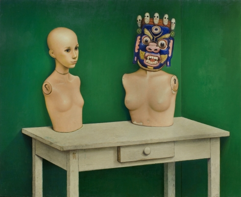 Gregory Gillespie, Manikin Piece, 1980, oil & alkyd on panel, 48 x 60 inches