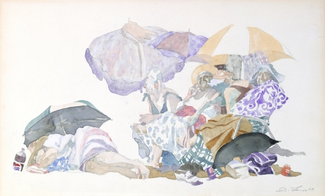 David Levine, Coney Queens, 1989, watercolor on paper, 14 1/2 x 23 1/4 inches
