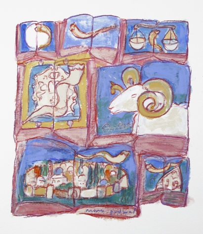 Mark Podwal, Shofars (SOLD), 2007, acrylic, gouache and colored pencil on paper, 9 x 8 inches