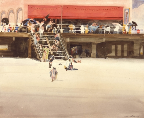 david levine, Stauch's Boardwalk Crowd, 1982, watercolor on paper, 11 x 14 inches, Private collection, Washington, DC