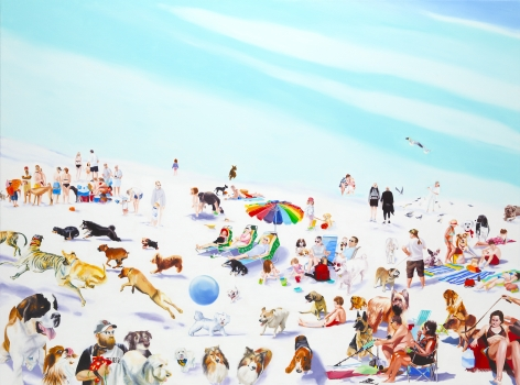 megan rye, Dog Beach, 2011, oil on canvas, 55 x 74 inches