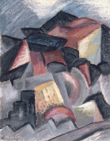 Auguste Herbin, Paysage cubiste, 1913 oil on artist's board 10 x 8 inches