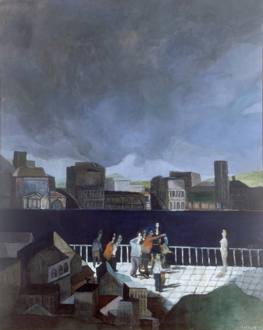 Gregory Gillespie, Provocation, c. 1962, oil on canvas, 47 1/4 x 37 3/4 inches