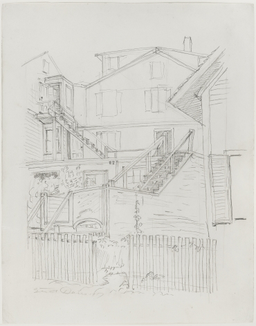 Stuart Davis, (Backyard Staircases), 1917, pencil on paper, 18 7/8 x 14 7/8 inches