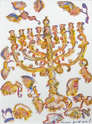 mark podwal, Menorah and wings of gold (for the Met Opera) (SOLD), 2011, Acrylic, gouache, and colored pencil on paper, 14 1/2 x 12 inches