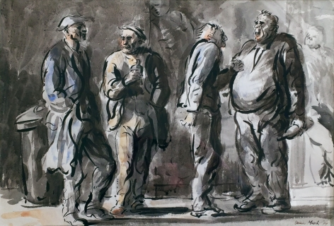 Reginald Marsh, Untitled (Bums on The Bowery), 1944, watercolor and ink on paper, 13 3/4 x 19 inches